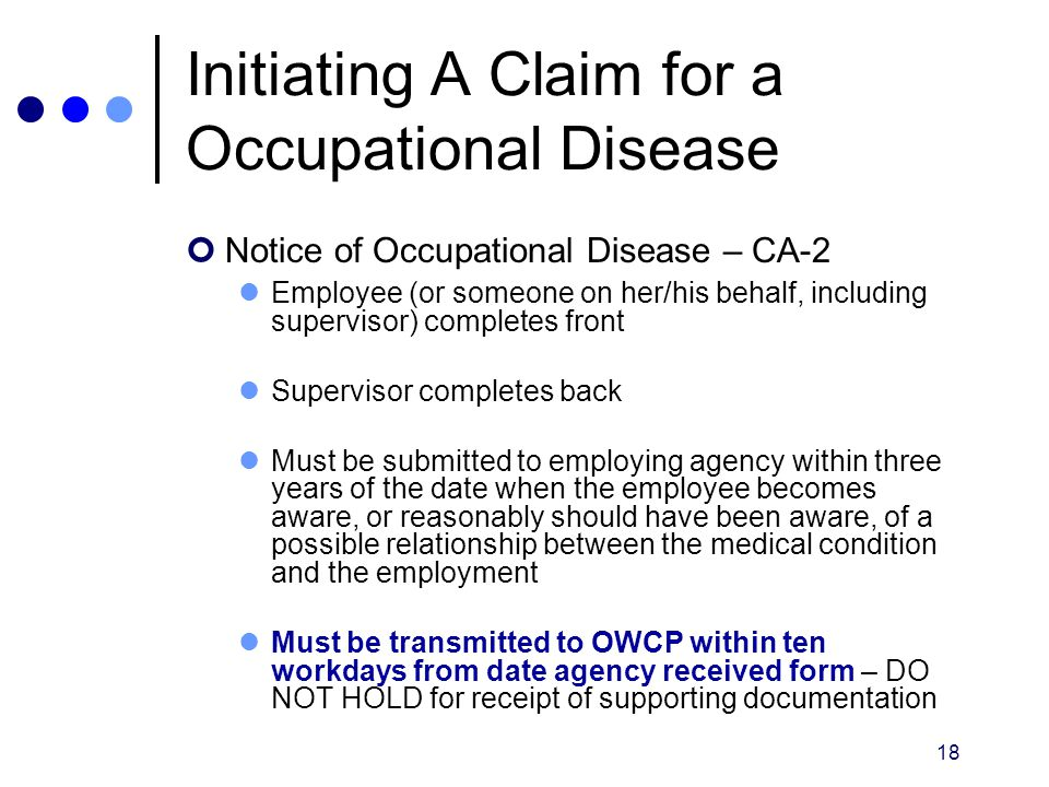 Initiating A Claim for a Occupational Disease