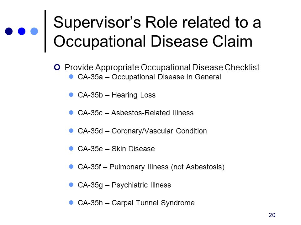 Supervisor's Role related to a Occupational Disease Claim