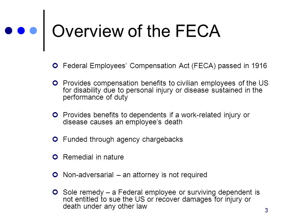 Overview of the FECA Federal Employees' Compensation Act (FECA) passed in 1916.