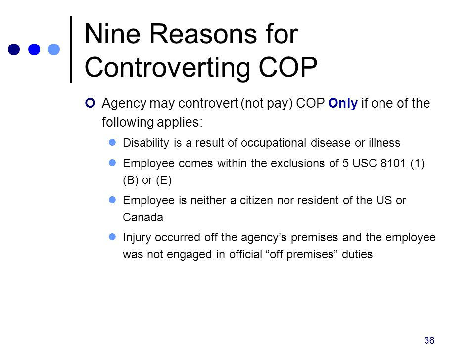 Nine Reasons for Controverting COP