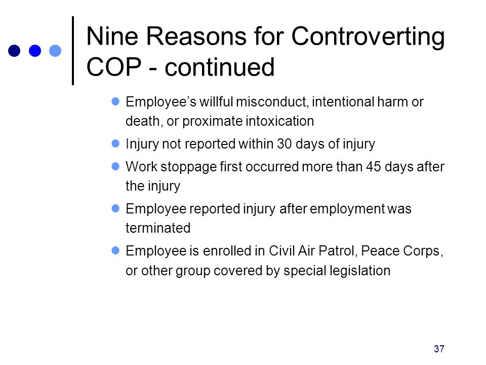 Nine Reasons for Controverting COP - continued