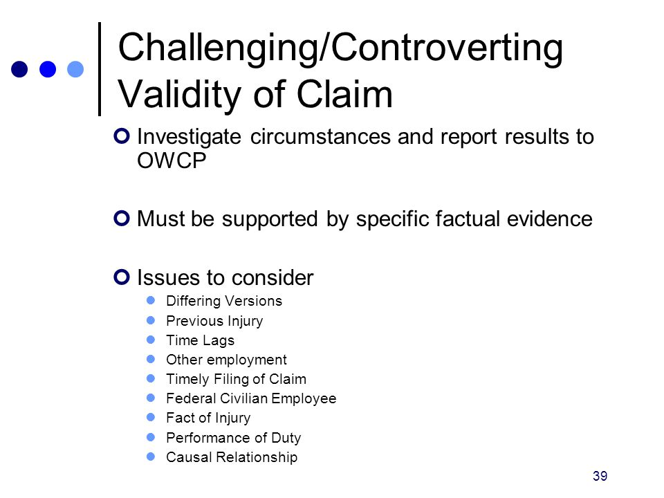 Challenging/Controverting Validity of Claim