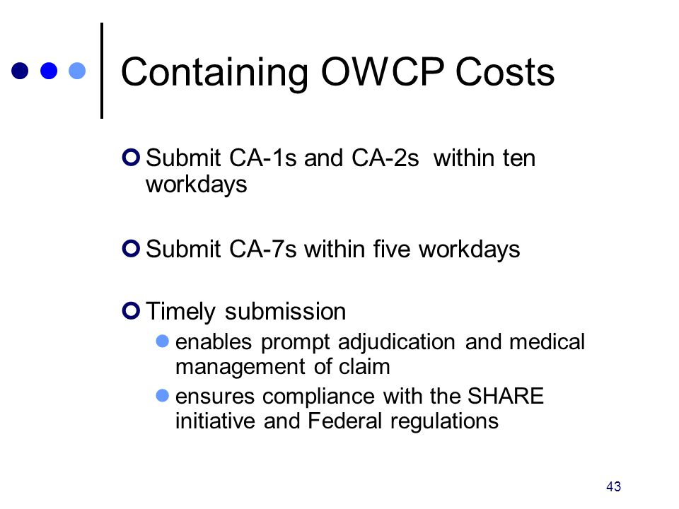 Containing OWCP Costs Submit CA-1s and CA-2s within ten workdays