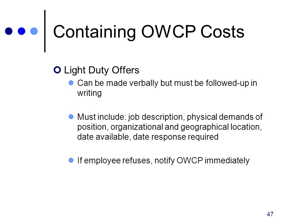 Containing OWCP Costs Light Duty Offers