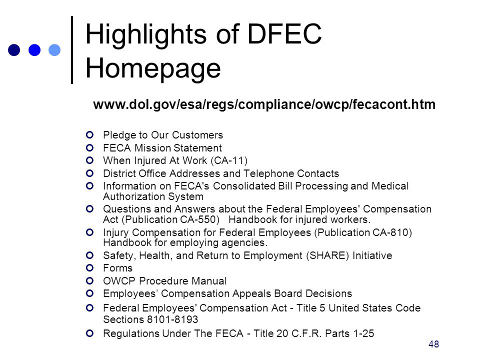 Highlights of DFEC Homepage