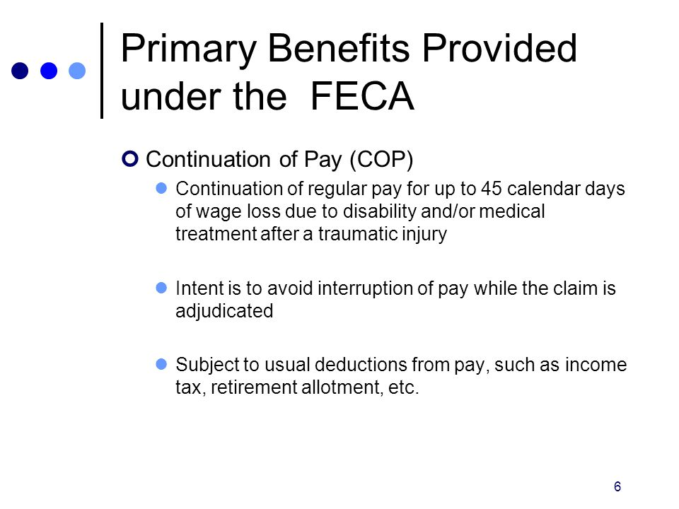 Primary Benefits Provided under the FECA