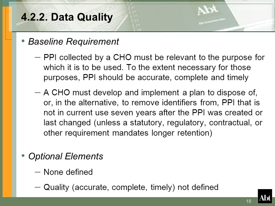 4.2.2. Data Quality Baseline Requirement Optional Elements