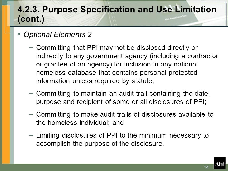 4.2.3. Purpose Specification and Use Limitation (cont.)