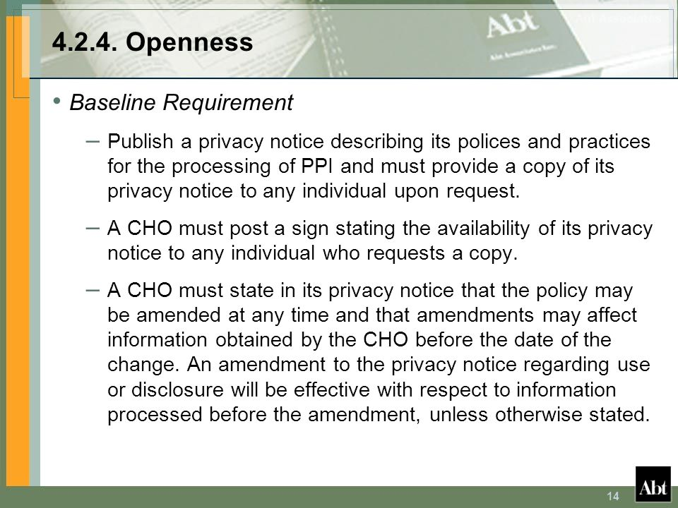 4.2.4. Openness Baseline Requirement