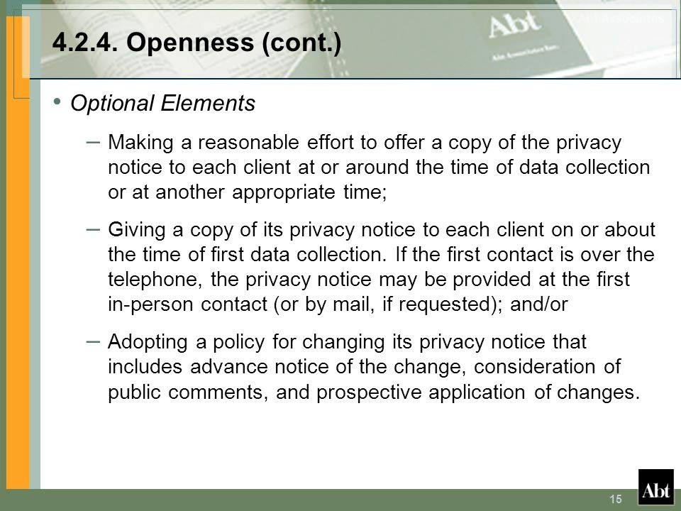 4.2.4. Openness (cont.) Optional Elements