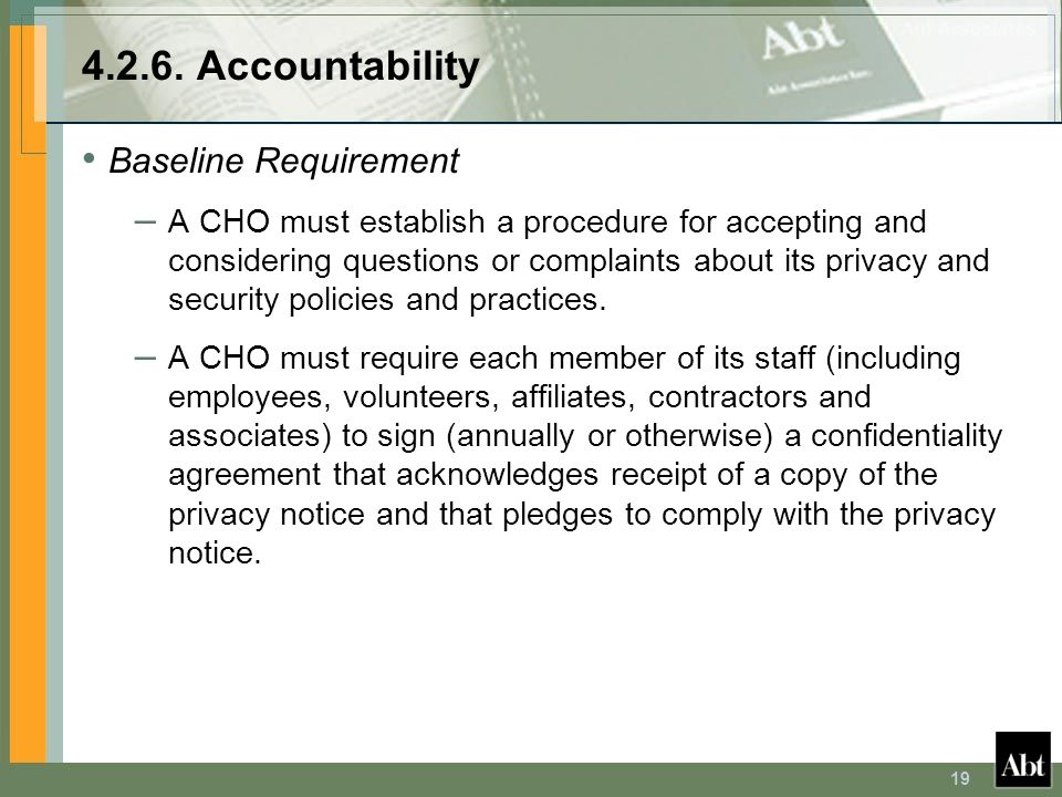 4.2.6. Accountability Baseline Requirement