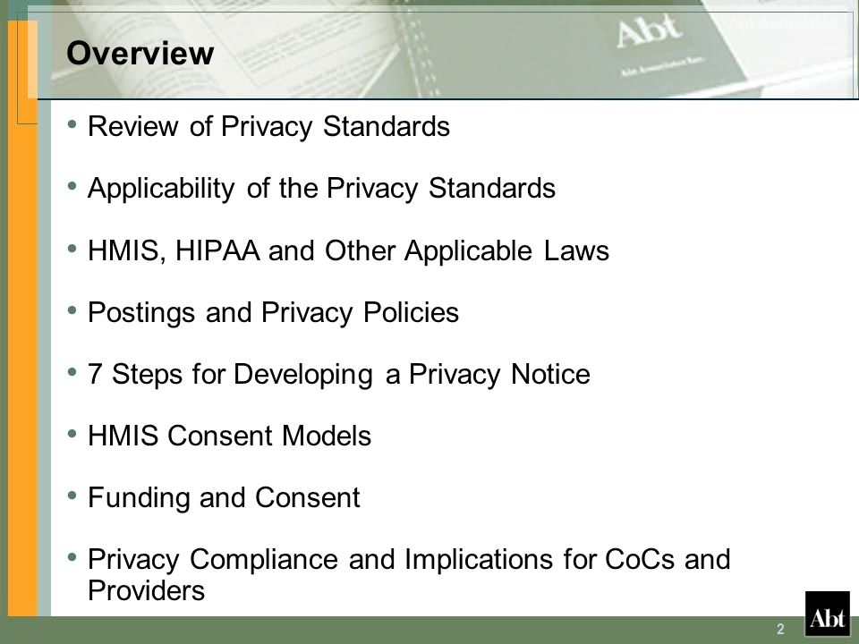 Overview Review of Privacy Standards