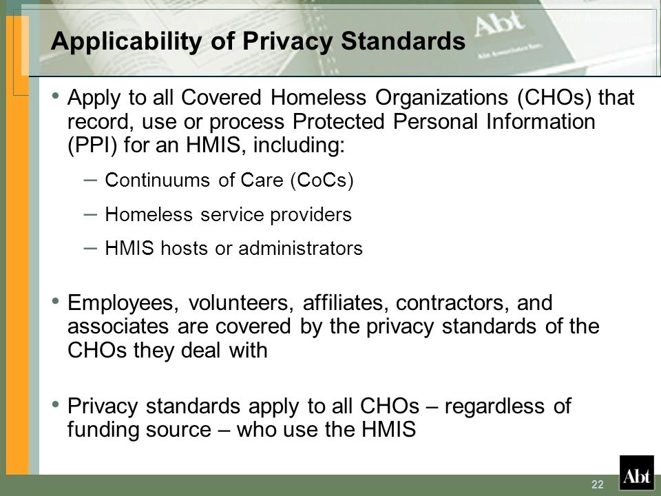 Applicability of Privacy Standards