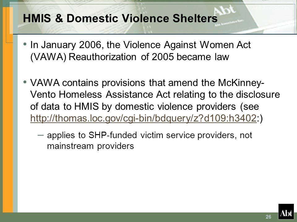 HMIS & Domestic Violence Shelters