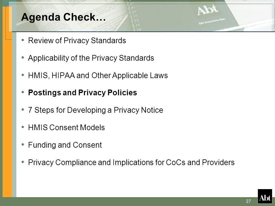 Agenda Check… Review of Privacy Standards
