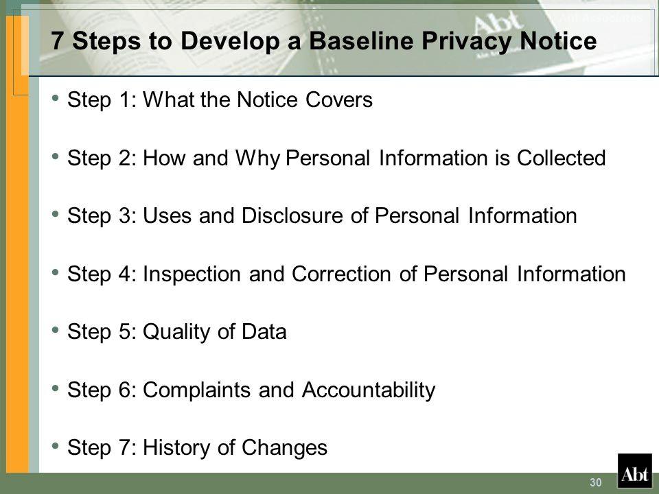 7 Steps to Develop a Baseline Privacy Notice