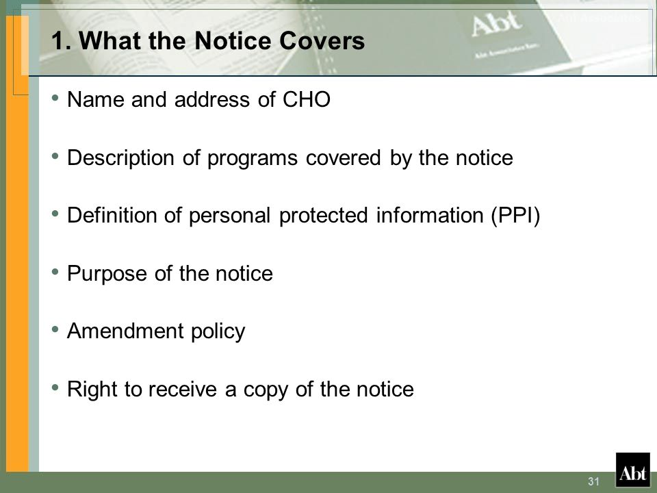 1. What the Notice Covers Name and address of CHO