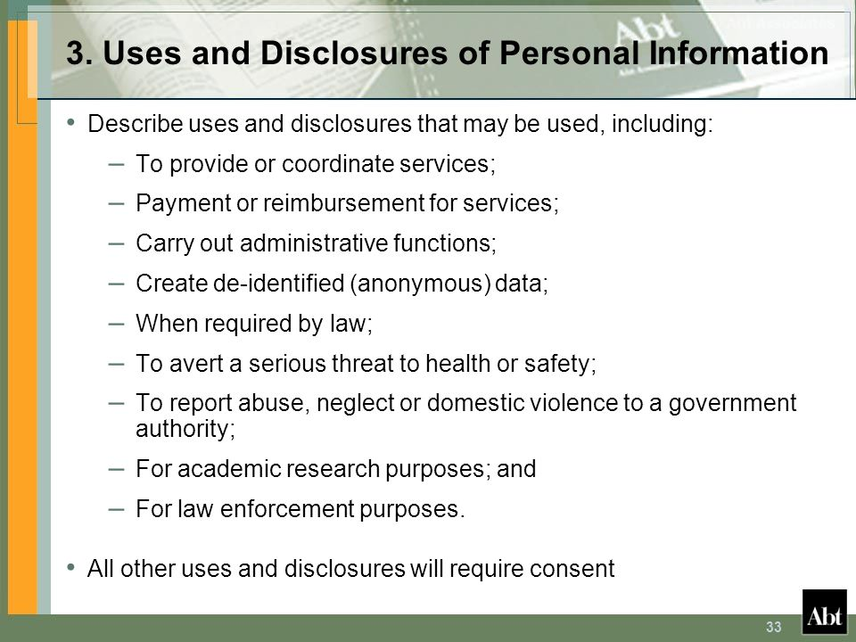 3. Uses and Disclosures of Personal Information