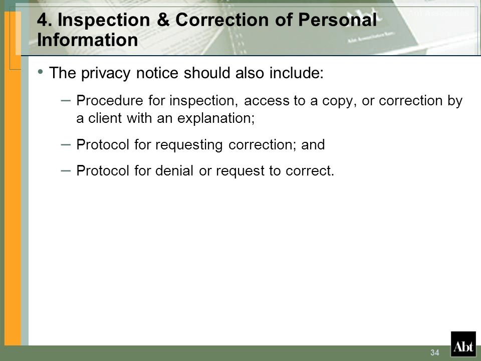 4. Inspection & Correction of Personal Information