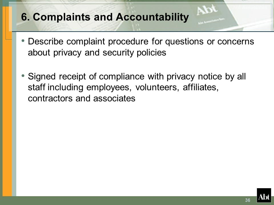 6. Complaints and Accountability