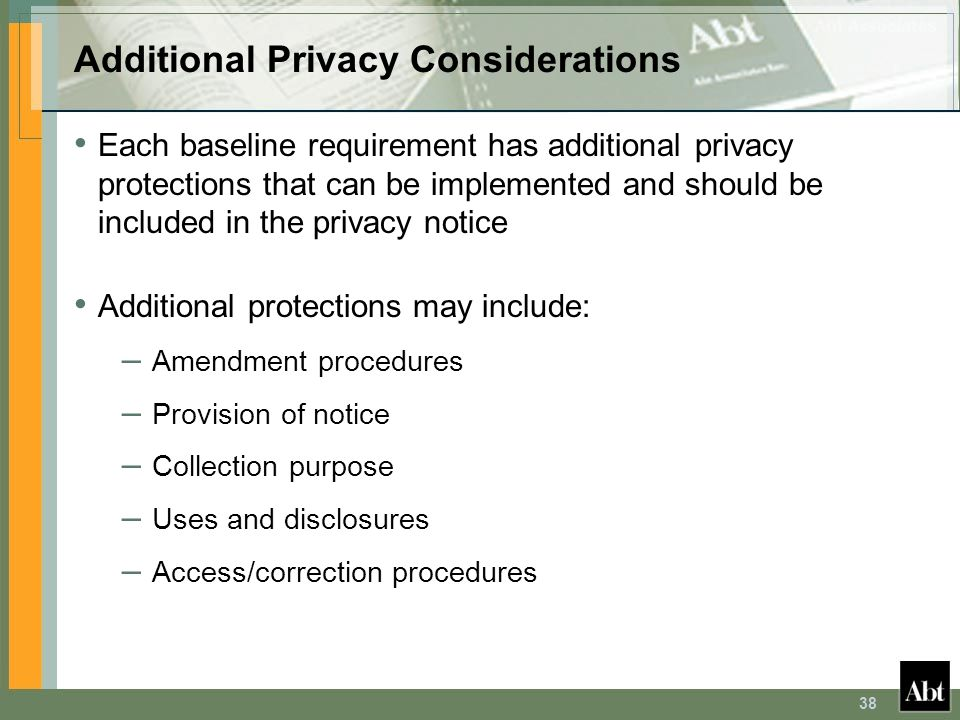 Additional Privacy Considerations