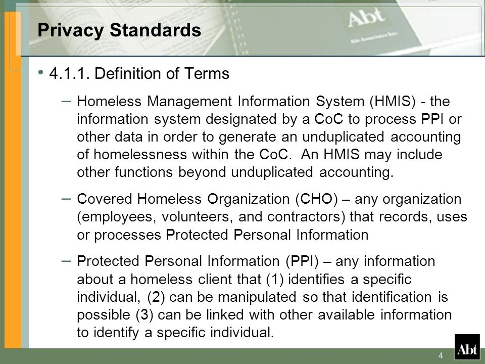 Privacy Standards 4.1.1. Definition of Terms