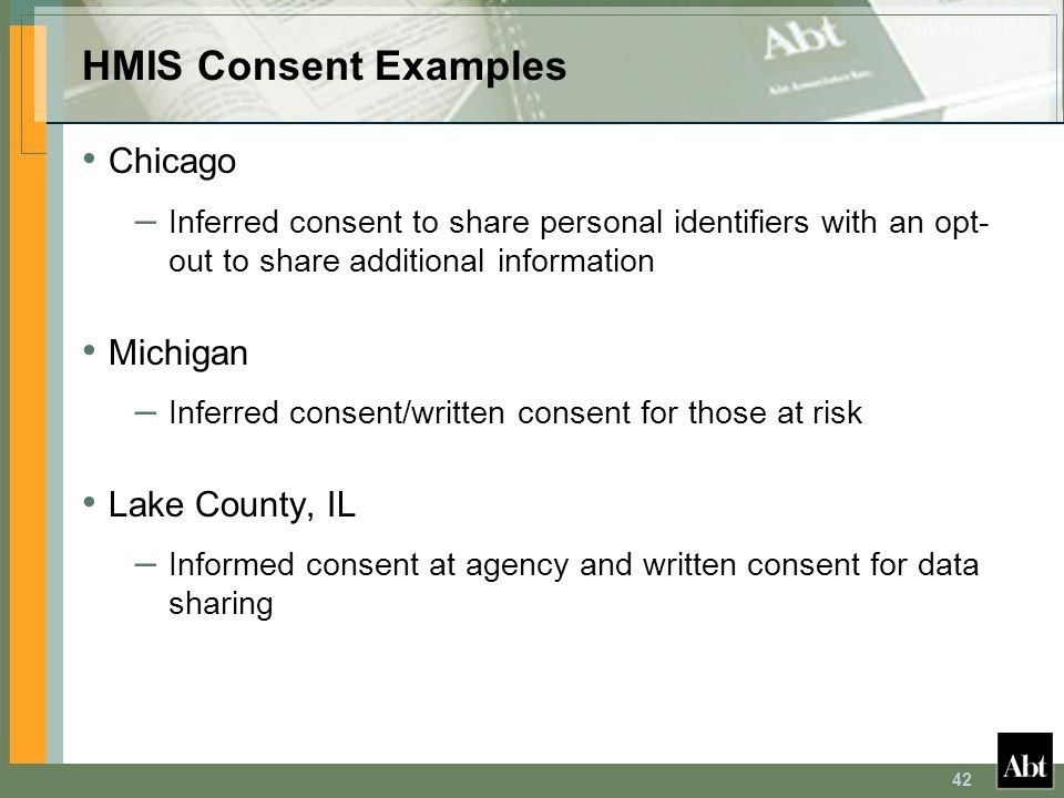 HMIS Consent Examples Chicago Michigan Lake County, IL