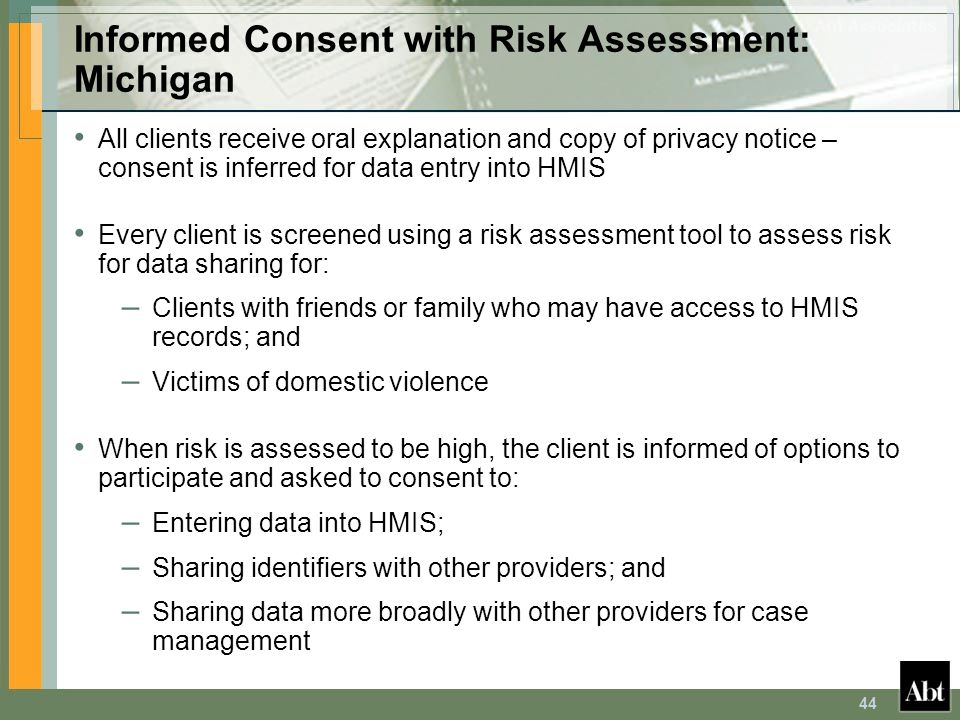 Informed Consent with Risk Assessment: Michigan