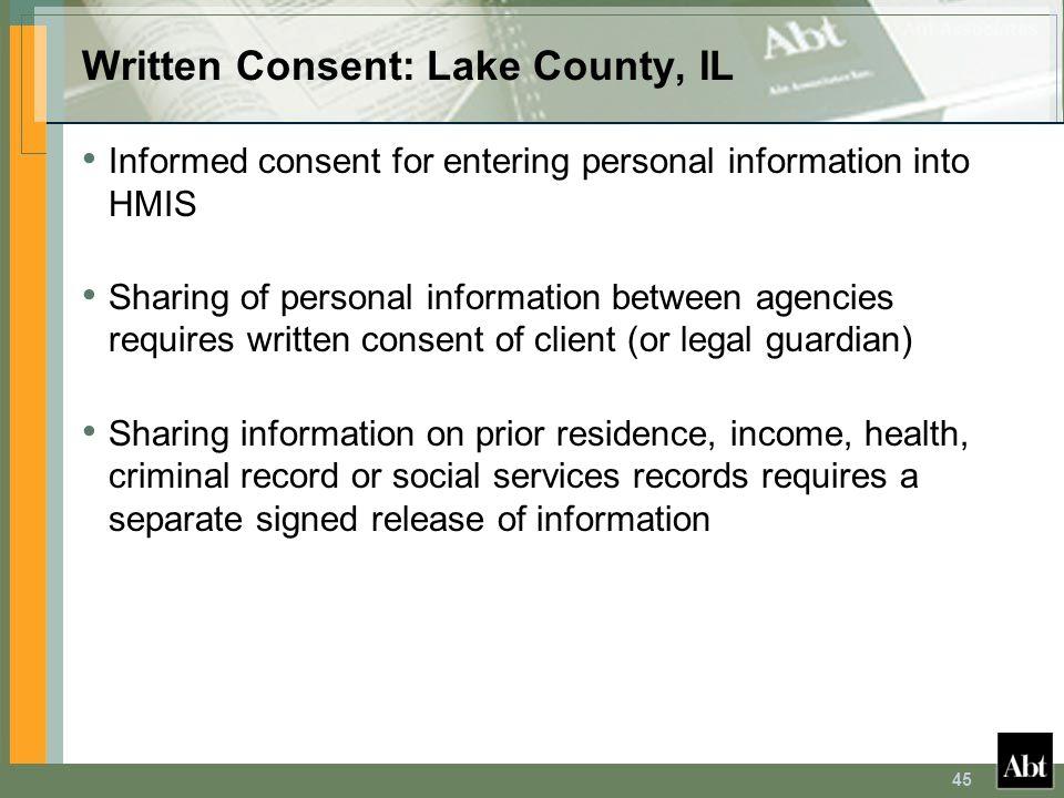 Written Consent: Lake County, IL