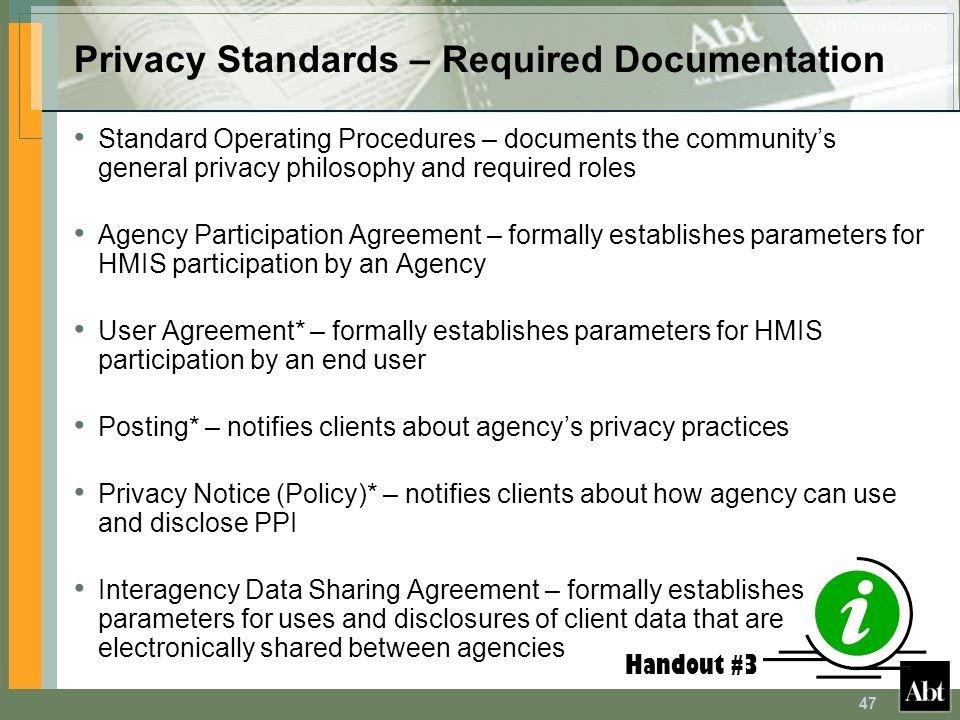 Privacy Standards – Required Documentation