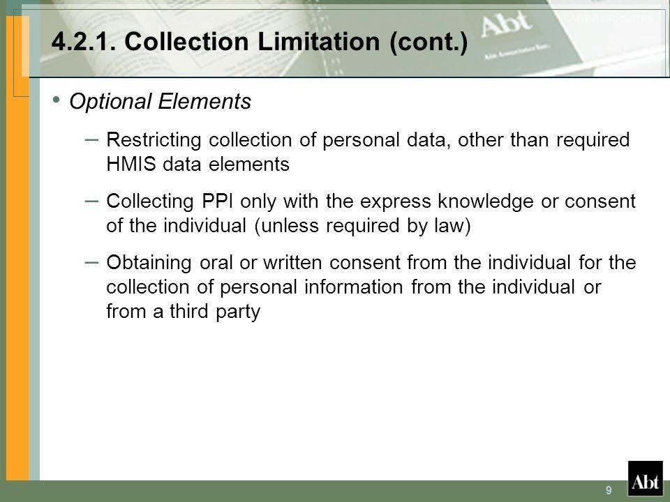 4.2.1. Collection Limitation (cont.)