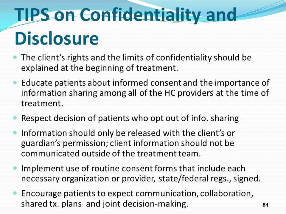 TIPS on Confidentiality and Disclosure