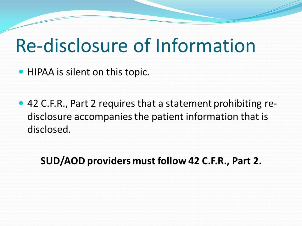Re-disclosure of Information