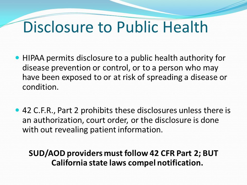 Disclosure to Public Health