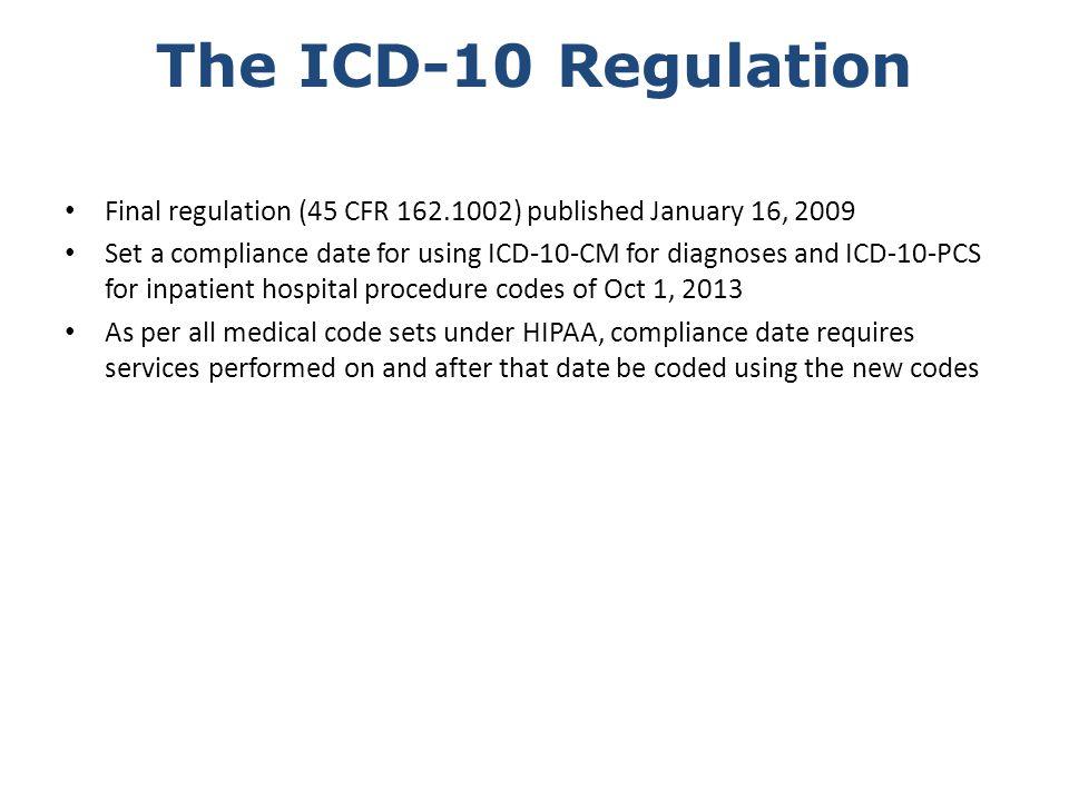 The ICD-10 Regulation Final regulation (45 CFR 162.1002) published January 16, 2009.