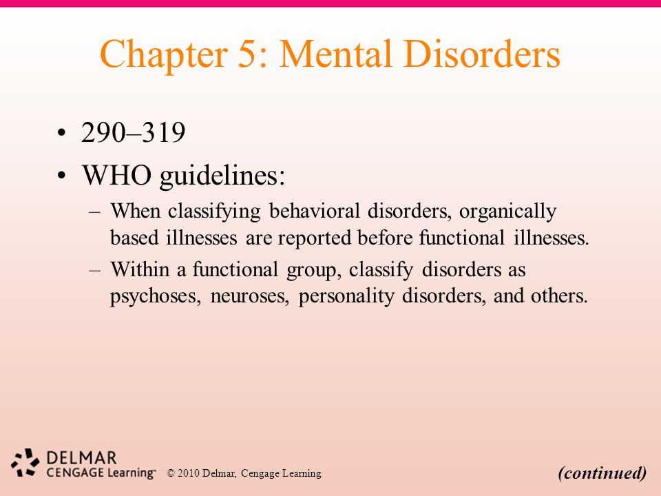 Chapter 5: Mental Disorders