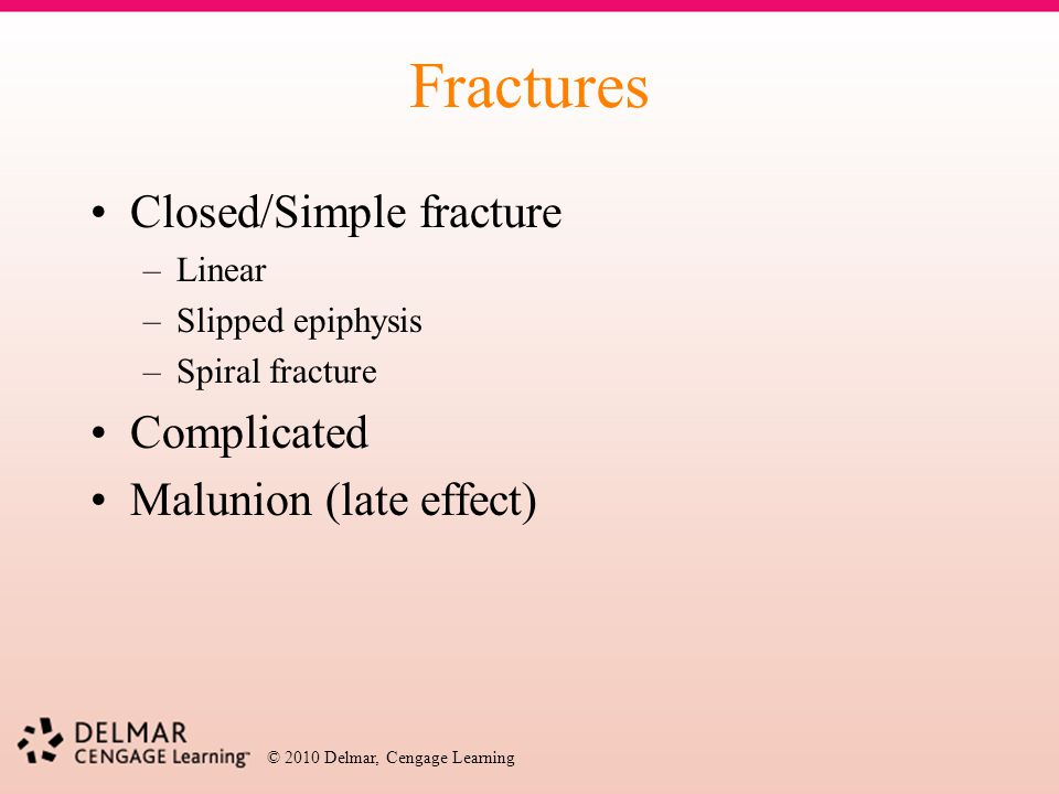 Fractures Closed/Simple fracture Complicated Malunion (late effect)