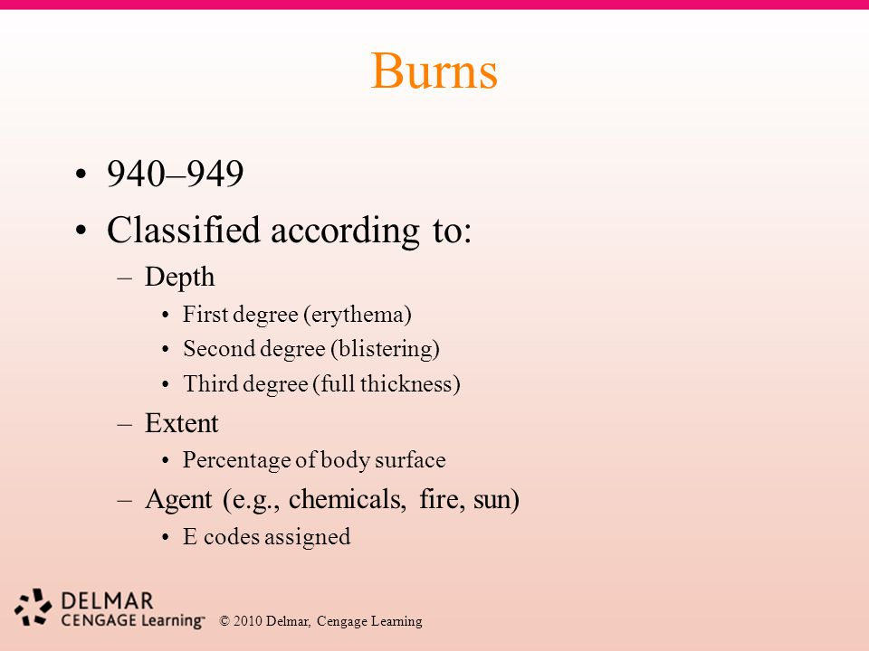 Burns 940–949 Classified according to: Depth Extent