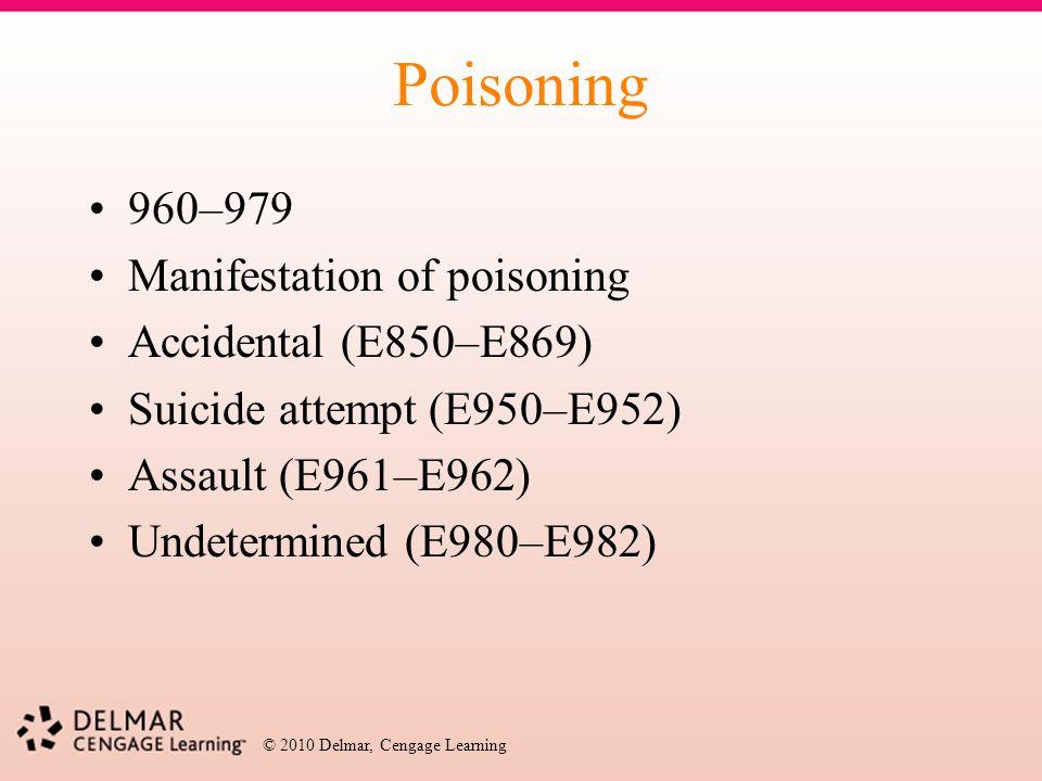 Poisoning 960–979 Manifestation of poisoning Accidental (E850–E869)