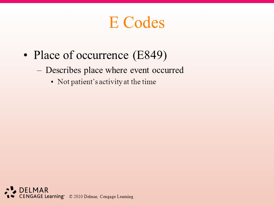 E Codes Place of occurrence (E849)