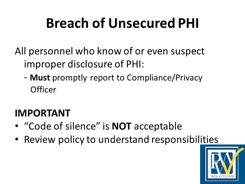 Breach of Unsecured PHI