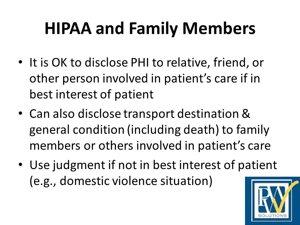 HIPAA and Family Members