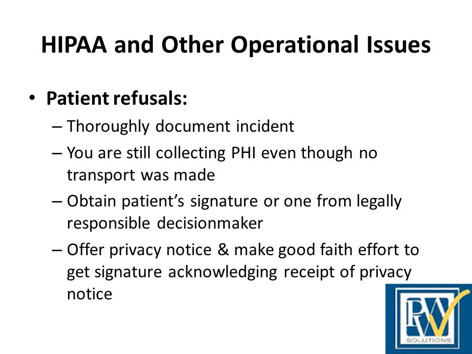 HIPAA and Other Operational Issues