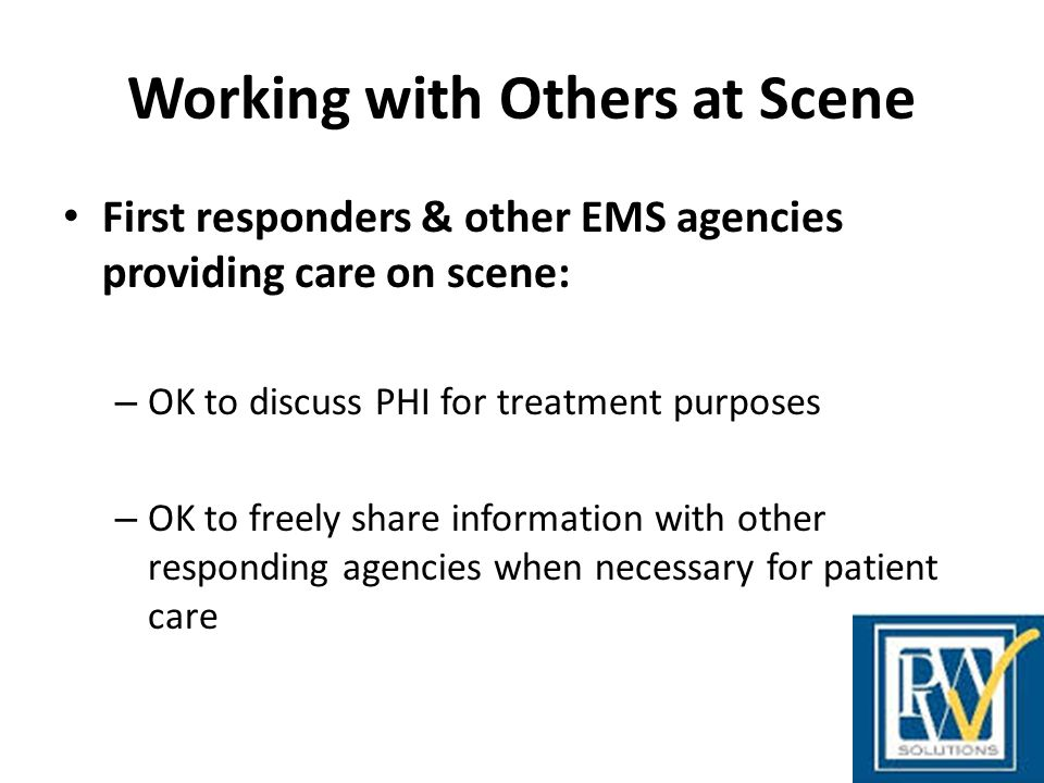 Working with Others at Scene