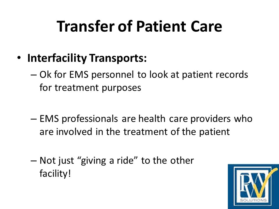 Transfer of Patient Care