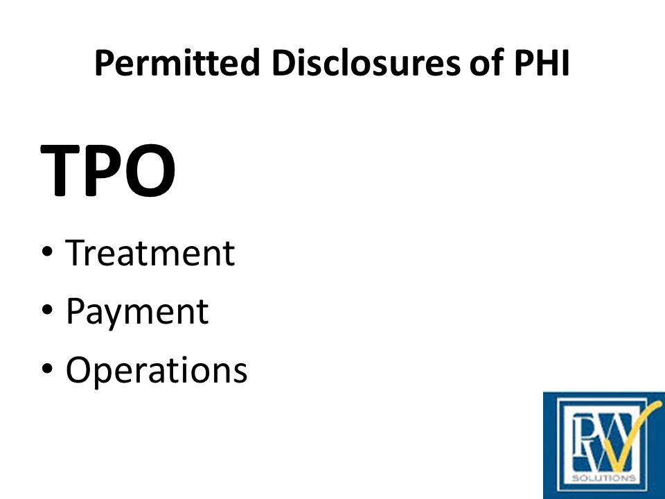 Permitted Disclosures of PHI