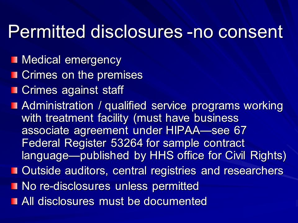 Permitted disclosures -no consent