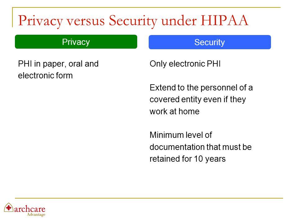 Privacy versus Security under HIPAA