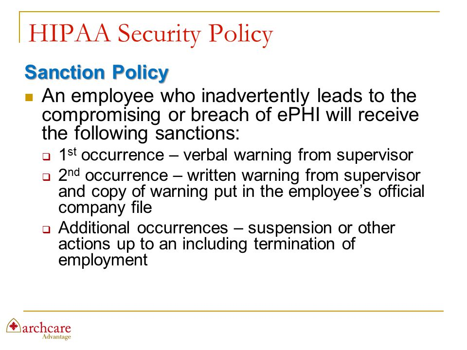 HIPAA Security Policy Sanction Policy