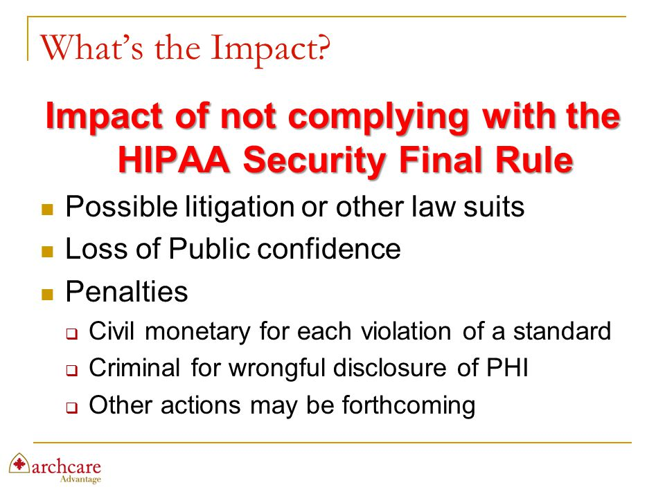 Impact of not complying with the HIPAA Security Final Rule